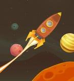Летание корабля Ракеты через космос Стоковое Фото