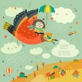 Летание маленькой девочки в небе с смешными птицами бесплатная иллюстрация
