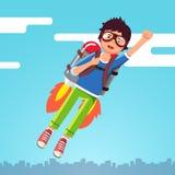 Летание мальчика в небе заволакивает на jetpack ракеты иллюстрация штока