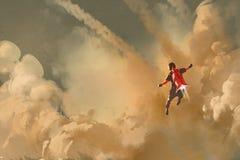 Летание мальчика в облачном небе с ракетой пакета двигателя иллюстрация вектора