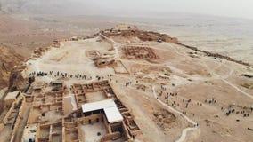 Летание над южным районом района крепости Masada южного района морского района Израиля мертвого Израиля Старое еврейское акции видеоматериалы