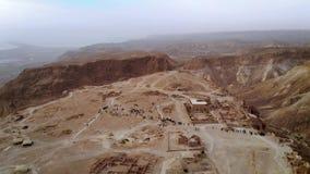 Летание над южным районом района крепости Masada южного района морского района Израиля мертвого Израиля Старое еврейское видеоматериал