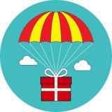 Летание на парашюте, обслуживание подарочной коробки поставки, концепция бонуса f Стоковое Изображение RF