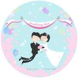 Летание пар свадьбы иллюстрация штока