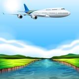 Летание пассажирского самолета иллюстрация штока