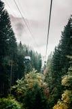 Летание подъема гондолы Ropeway над зеленым сосновым лесом в ноге держателя Titlis в Энгельберге, Швейцарии стоковые фото