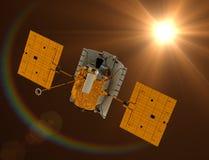 Летание посыльного космической станции к Солнцю. Стоковые Изображения