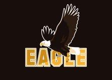 Летание птицы белоголового орлана со словом иллюстрация вектора