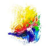 Летание птиц голубей Watercolour, красочная картина вектора Полет птиц бесплатная иллюстрация