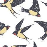 Летание птиц заглатывает картину чертежа руки безшовную бесплатная иллюстрация