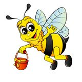 Летание пчелы шаржа с медом ведра иллюстрация вектора