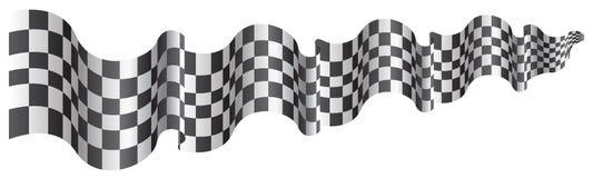 Летание размера Checkered флага длинное на белом векторе предпосылки иллюстрация вектора