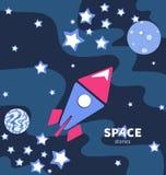 Летание Ракеты в космосе Планеты и звезды иллюстрация штока