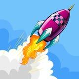 Летание Ракеты в небе иллюстрация штока