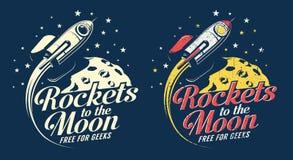 Летание ракеты космоса вокруг планеты с кратерами иллюстрация штока