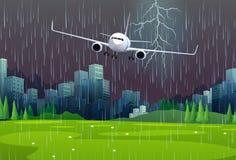 Летание самолета в дожде иллюстрация вектора