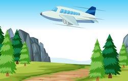 Летание самолета над древесинами иллюстрация штока