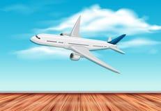 Летание самолета на небе иллюстрация штока