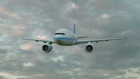 Летание самолета пассажира над вид спереди облаков, переводом 3D стоковые фото