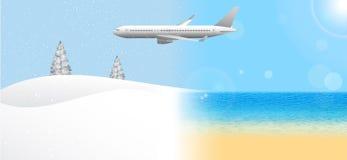 Летание самолета пассажира от лета к зиме иллюстрация вектора