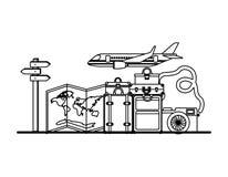 Летание самолета со значками перемещения установленными иллюстрация вектора
