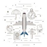 Летание самолета со значками перемещения установленными иллюстрация штока