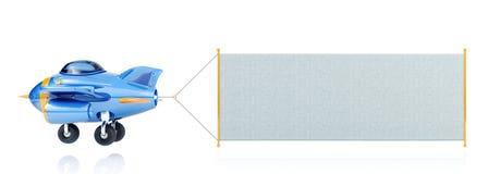 Летание самолета шаржа с длинным знаменем ткани бесплатная иллюстрация