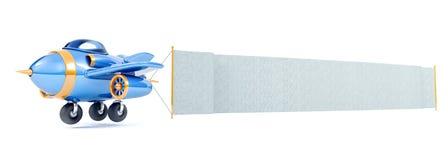 Летание самолета шаржа с длинным знаменем ткани иллюстрация штока