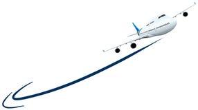 Летание самолета на белой предпосылке бесплатная иллюстрация