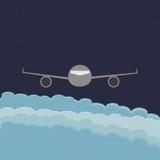 Летание самолета над облаками Стоковая Фотография