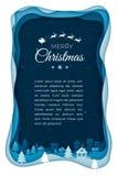 Летание Санта на ночном небе в городке города Искусство бумаги предпосылки зимнего отдыха Иллюстрация стиля отрезка бумаги сезона иллюстрация вектора