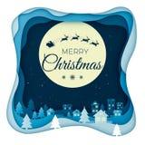 Летание Санта на ночном небе и луне в пейзаже городка города в зиме с домами и снежными холмами Искусство бумаги дизайна зимнего  иллюстрация вектора