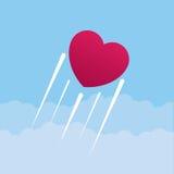 Летание сердца через небо иллюстрация вектора