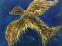 Летание сокола над океаном иллюстрация вектора