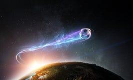 Летание футбольного мяча в космосе над планетой иллюстрация вектора