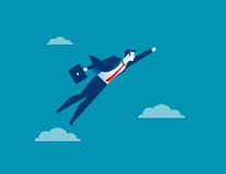 Летание характера бизнесмена через небо Дело концепции иллюстрация вектора