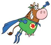 Летание характера талисмана мультфильма коровы супергероя Брауна стоковое изображение