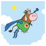 Летание характера талисмана мультфильма коровы супергероя Брауна стоковые фотографии rf