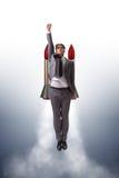 Летание человека с ракетой в концепции дела бесплатная иллюстрация