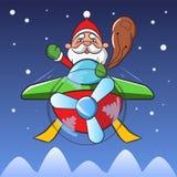 Летание Santa Claus Стоковые Изображения