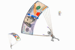 Летание Skydiver на 100 долларах банкнот Стоковая Фотография