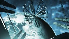Летать в искривление в оживленной космической станции 4K иллюстрация штока