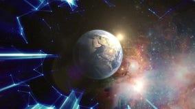 Летать далеко от земли через звезды шток Волшебный шарик Восход солнца над землей увиденной от космоса иллюстрация вектора