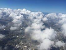 Летать над южной Флоридой перед ураганом стоковое фото