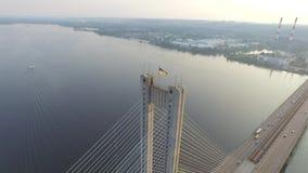 Летать над южным мостом в Киеве Украина видеоматериал