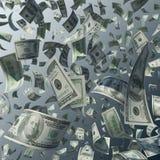 Летать 100 долларовых банкнот Стоковое фото RF