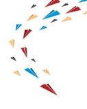 Летать совместно multicolor самолеты бумаги origami Плакат или крышка Стоковые Фото