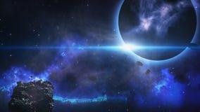 Летать через астероидное поле от темной планеты Стоковая Фотография RF