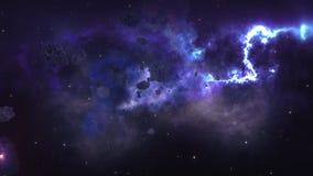 Летать через астероидное поле Стоковое Изображение