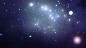 Летать через галактику Красивая закрепленная петлей анимация HD 1080 видеоматериал
